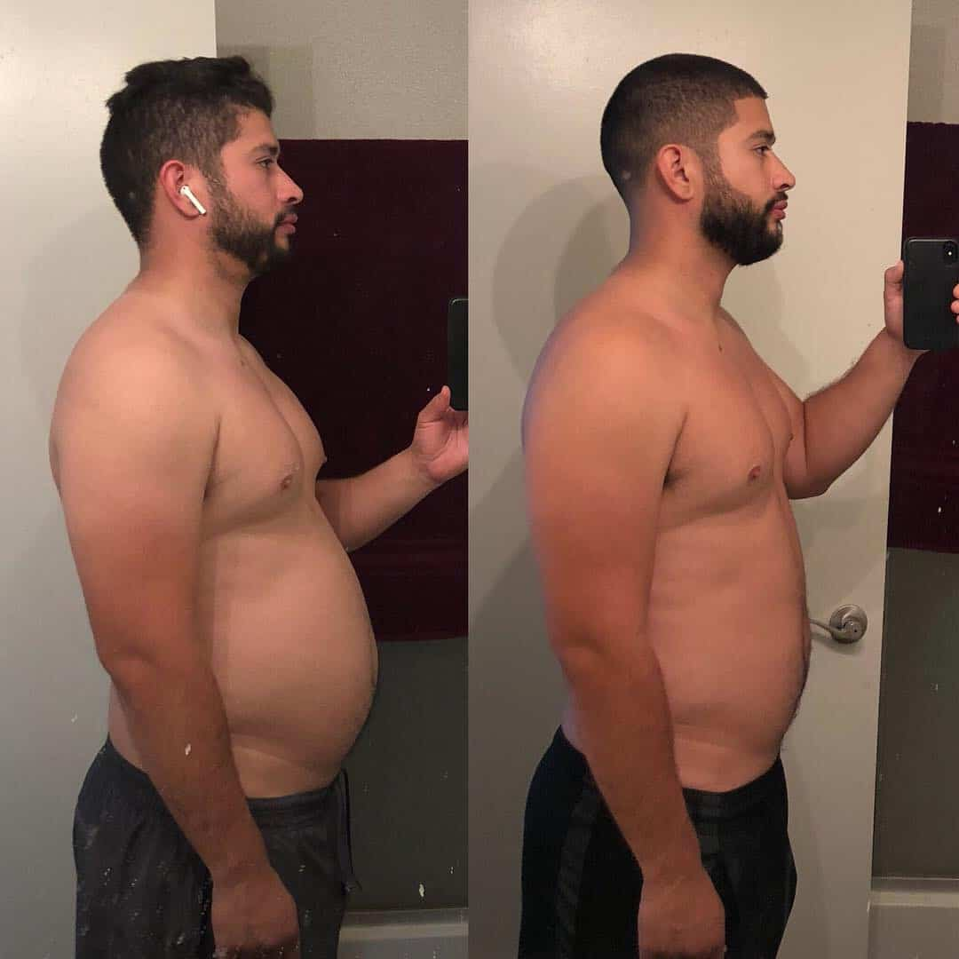 30 day weight loss transformation side view